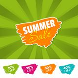 Summer sale color banner and 10%, 20%, 30% & 40% Off Marks. Vector illustration. Summer sale color banner and 10%, 20%, 30% & 40% Off Marks. Eps10 Vector Royalty Free Stock Photo