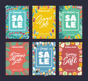 Summer sale. Colorful fashion banners set with abstract background and hand writing words and letters royalty free illustration