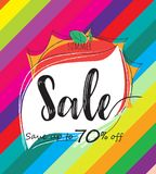 Summer sale colorful template banner,special offer at discount up to 70% off. Summer sale colorful template banner,special offer at discount up to 70% off Stock Photography