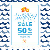 Summer sale concept banner with sea waves, seashell, seastar and lettering element Stock Photo