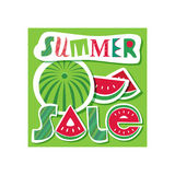 Summer sale concept. Special bonus poster. Design element of discount campaign off price banner. Promotion of season offer in fun colorful cartoon style Stock Images
