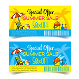 Summer Sale coupon. Discount Coupon design,Summer Sale coupon  illustration Stock Image