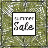 Summer sale with decorative tropical pattern Stock Photo