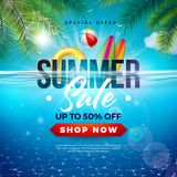 Summer Sale Design with Beach Holiday Elements and Exotic Leaves on Underwater Blue Ocean Background. Tropical Floral. Vector Illustration with Special Offer vector illustration