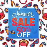 Summer sale design. Pattern with woman fashion accessories - freehand drawing of glamour lifestyle elements. Design of Summer Sale label, poster, banner vector illustration