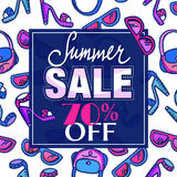 Summer sale design. Pattern with woman fashion accessories - freehand drawing of glamour lifestyle elements. Design of Summer Sale label, poster, banner stock illustration