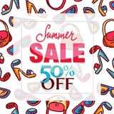 Summer sale design. Pattern with woman fashion accessories - freehand drawing of glamour lifestyle elements. Design of Summer Sale label, poster, banner royalty free illustration