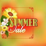 Summer sale design template with and many beautiful flowers; Stock Images