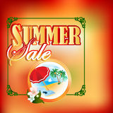 Summer sale design template; Summer scene in medallion Stock Photos