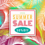 Summer sale discount banner  - colorful coconut palm leaf abstract vector illustration design Royalty Free Stock Photos
