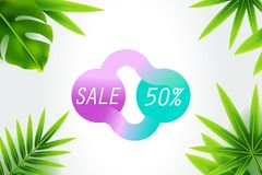 Summer sale discount End of season banner design with tropical foliage,  illustration background. Can used for gift voucher,. Poster, advertising social media Stock Photography
