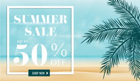 Summer sale discount End of season banner. Summer sale discount End of season banner on location beautiful beach background. Can used for gift voucher, poster Royalty Free Illustration