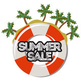 Summer sale, discount hand drawn cartoon banner. Stock Photo