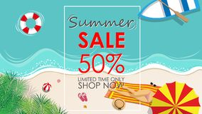 Summer sale discount 50 percent off template banner with beach. Accessories background. vector summer sale background for banner, poster, flyer, card, postcard Stock Photo