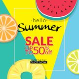 Summer sale discount 50 percent off template banner with pieces of tropical fruit on colorful background. vector summer sale. Background for banner, poster Royalty Free Stock Image