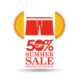 Summer sale 50 discounts with clothes. Vector illustration eps 10 Stock Photo