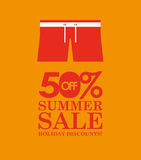 Summer sale 50 discounts with clothes. Vector illustration eps 10 Royalty Free Stock Photo