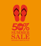Summer sale 50 discounts with flip flops Stock Photography