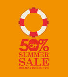 Summer sale 50 discounts with life buoy Stock Image
