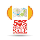 Summer sale 50 discounts with map location Stock Image