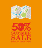 Summer sale 50 discounts with map location Stock Photo