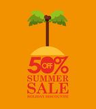 Summer sale 50 discounts with palm island Royalty Free Stock Photography