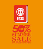 Summer sale 50 discounts with passport Royalty Free Stock Images