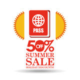 Summer sale 50 discounts with passport Royalty Free Stock Photography