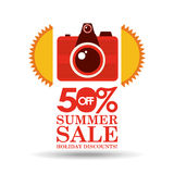 Summer sale 50 discounts with photo camera Stock Photography