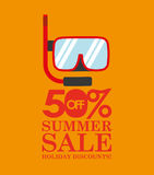 Summer sale 50 discounts with snorkeling Stock Photos