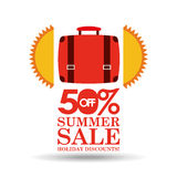 Summer sale 50 discounts with suitcase Stock Images