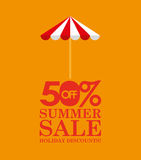 Summer sale 50 discounts with umbrella Royalty Free Stock Images