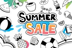 Summer sale with doodle icon and design on white background. Adv Stock Photo
