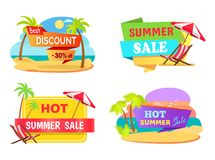 Summer Sale Emblems with Tropical Beaches Set. Best discount stickers with palms and sandy beaches. Sale only in summer emblems vector illustrations royalty free illustration