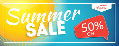 Summer Sale end of Season Banner. Business Discount Card. Vector Illustration Stock Photo
