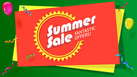 Summer sale, fantastic offer poster. Hot, bright selling banner with graphic symbol of sun and with inflatable balloons Stock Images