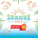 Summer sale with fashion products background. Colorful summer sale fashion products background design with sunglassee,t-shirt,tanktop,watch and sandal vector Royalty Free Stock Photo