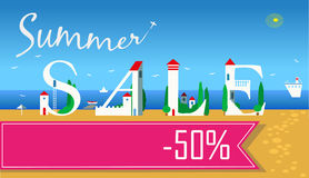 Summer Sale. Fifty percents. Artistic font Stock Photos