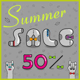 Summer Sale. Fifty percents. Inscription summer sale with hipster style. Fifty percents. Gray letters with colorful ties. Cartoon hands looking at each other Stock Photography