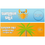 Summer Sale Flat Banner With Crab And Palm Tree Stock Photo