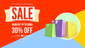 Summer Sale Flat Design Poster. Selling Ad Banner On Tricolor Flat Background With Shopping Bags. Summer Super Vacation Royalty Free Stock Image