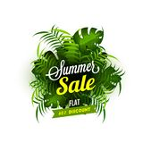 Summer Sale, Flat 60% Discount Offer with Green Leaves on White. Background vector illustration