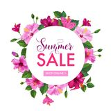 Summer Sale Floral Banner. Seasonal Discount Advertising with Hibiscus Flowers. Tropical Paradise Promotional Design. Summer Sale Floral Banner. Seasonal Royalty Free Stock Images