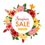 Summer Sale Floral Banner. Seasonal Discount Advertising with Red Hibiscus Flowers. Tropical Paradise Promotional Design. For Poster, Flyer. Vector illustration Stock Image