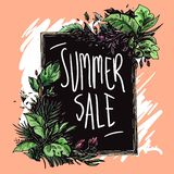 Summer sale floral frame hand drawn royalty free illustration