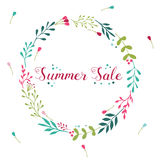 Summer Sale floral wreath with hand drawn elements. Sale floral wreath with hand drawn elements ant text Royalty Free Stock Image