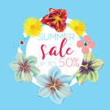 Summer sale Flower banner with text on blue background with beautiful flowers. Artistic design vector banners, greeting Stock Photos