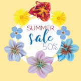 Summer sale Flower banner with text on yellow background with beautiful flowers. Artistic design vector banners Royalty Free Stock Photo