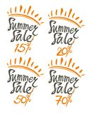 Summer Sale. 15%, 20%, 50% 70%. Summer Sale. Four isolated  templates summer discount 15%, 20%, 50% 70 Royalty Free Stock Photo