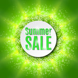 Summer sale  with fresh green leaf. Royalty Free Stock Image